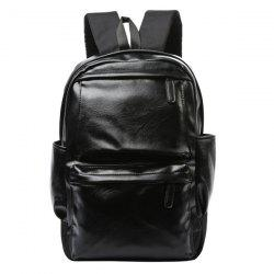Casual Black and Zipper Design Backpack For Men - BLACK