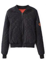 Zipper Quilted Bomber Jacket -
