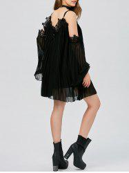 Long Sleeve Pleated Cold Shoulder Cocktail Dress - BLACK