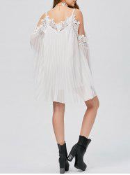 Long Sleeve Pleated Cold Shoulder Cocktail Dress - WHITE