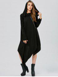 Asymmetric Long Sleeve Tunic Hooded Dress