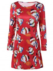 Christmas Ornate Santa Print Dress