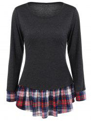 Plaid Trim Flounced T-Shirt