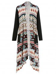 Plus Size Ornate Print Asymmetric Cardigan - COLORMIX