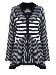 Plus Size Buttoned Striped Asymmetric Cardigan - STRIPE