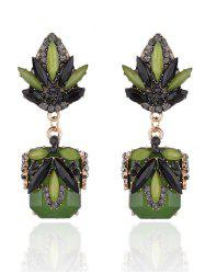 Rhinestone Fake Jade Drop Earrings - GRASS GREEN