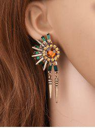 Rhinestone Flower Rivet Tassel Earrings - GOLDEN