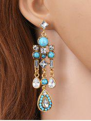 Water Drop Fake Gem Crystal Tassel Earrings