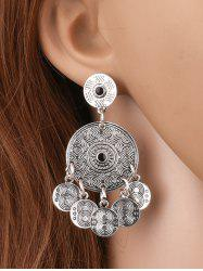 Coin Shape Tassel Round Drop Earrings