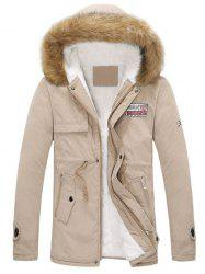 Drawstring Zippered Long Sleeve Fur Hooded Sherpa Coat - KHAKI