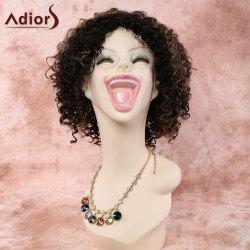 Stylish Short Side Bang Mixed Color Afro Curly Women's Synthetic Wig