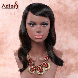 Charming Long Inclined Bang Capless Fluffy Wave Black Brown Mixed Synthetic Adiors Wig For Women