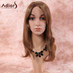 Long Natural Straight Oblique Bang Synthetic Wig