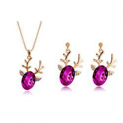 Rhinestone Christmas Elk Necklace and Earrings