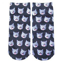 3D Yawn Cat Head Printed Crazy Socks