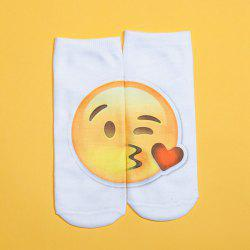 3D Blow A Kiss Printed Emoji Socks -