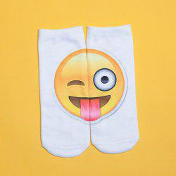 3D Big Naughty Face Printed Emoji Socks - WHITE