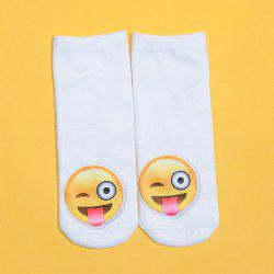 3D Naughty Face Printed Emoji Socks - WHITE
