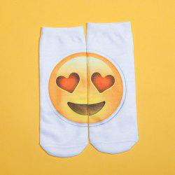 3D Heart Shaped Eyes Big Face Printed Emoji Socks - WHITE