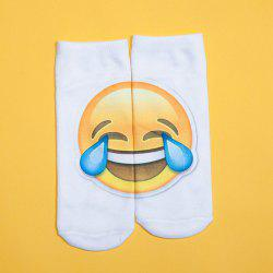 3D Big Crying Face Printed Emoji Socks - WHITE
