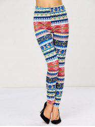 Strench Color Block Patterned Bodycon Aztec Print Leggings -