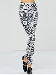 Strench Two Tone Geometrical Bodycon Leggings - WHITE AND BLACK M