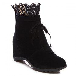 Lace Hidden Wedge Tie Up Ankle Boots