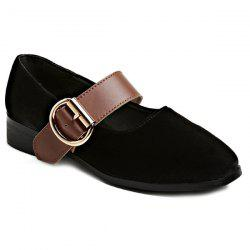Buckle Strap Velvet Square Toe Flat Shoes - BLACK