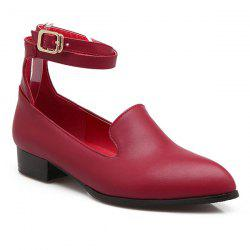 Faux Leather Ankle Strap Flat Shoes - CLARET