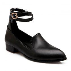 Faux Leather Ankle Strap Flat Shoes