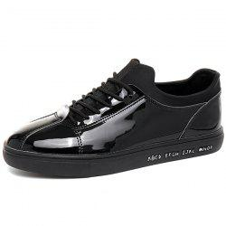 Stretch Fabric Patent Leather Casual Shoes
