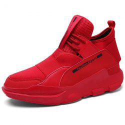 PU Leather Stretch Fabric Athetic Shoes - RED