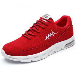 Suede Tie Up Athletic Shoes - RED