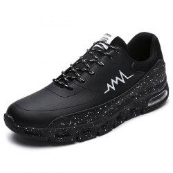 Tie Up Faux Leather Athletic Shoes - BLACK