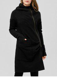 Asymetrical Zipper Hooded Coat