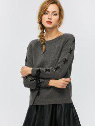 Crew Neck Lace-Up Sweater