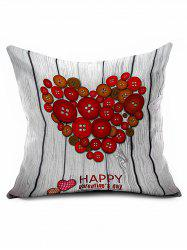 Fastener Heart Cushion Cover Valentine Gift Throw Pillowcase -