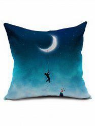 Moon Night Print Linen Cotton Sofa Bed Cushion Throw Pillowcase - DEEP BLUE