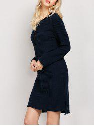 Plus Size Long Sleeve Ribbed Jumper Casual Knit Dress