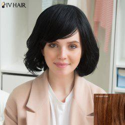 Siv Stunning Human Hair Short Side Bang Slightly Curled Wig