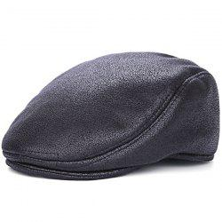 PU Leather Winter Thicken Newsboy Cap