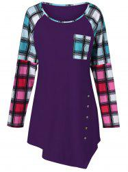 Raglan Sleeve Plaid Plus Size Tee
