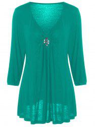 Plus Size V Neck Rhinestone Decorated Blouse