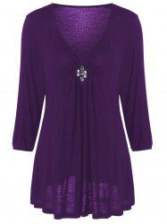 Plus Size V Neck Rhinestone Decorated Blouse - DEEP PURPLE