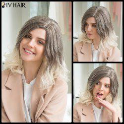 Siv Human Hair Double Color Medium Side Parting Fluffy Wavy Wig