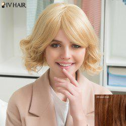 Siv Human Hair Short Inclined Bang Slightly Curled Wig