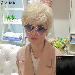 Siv Human Hair Short Oblique Bang Shaggy Straight Wig