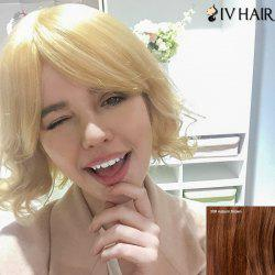 Siv Human Hair Endearing Short Inclined Bang Slightly Curled Wig