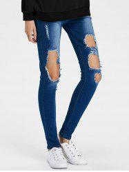 Dark Wash Ripped Pencil Jeans -