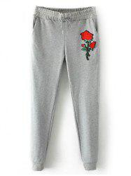 Drawstring Rose Embroidered Jogger Pants -